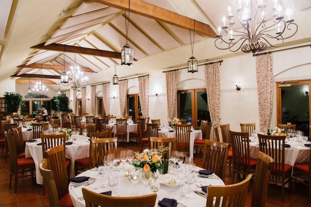 Tables set for dinner at Barboursville Vineyards