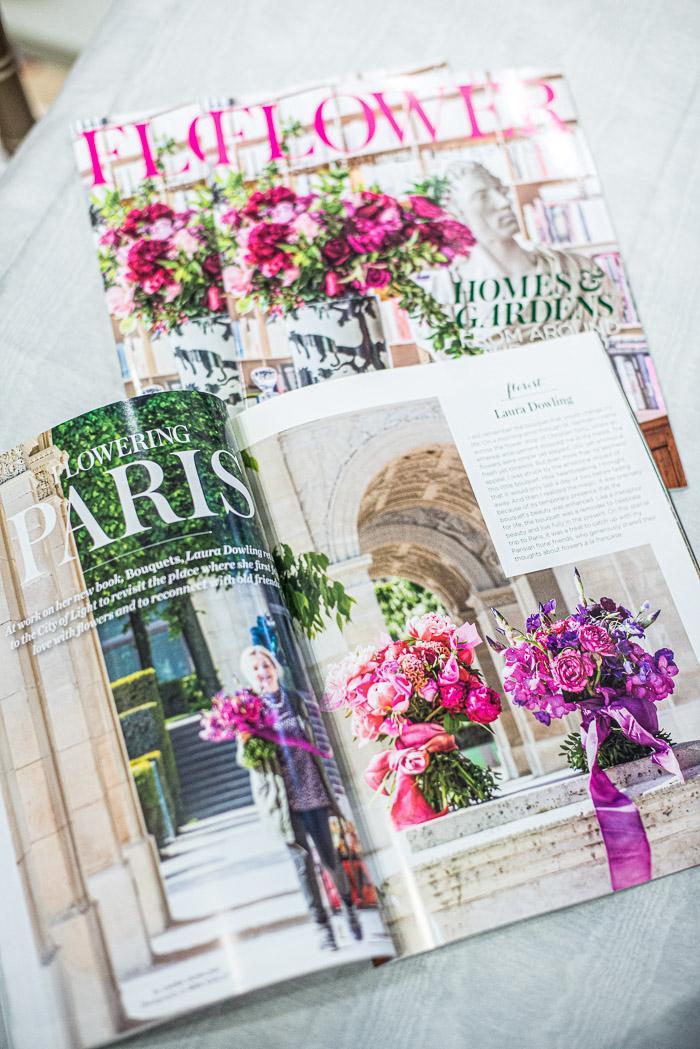 Flowers magazine by Margot Shaw on display at Caspari store in Charlottesville