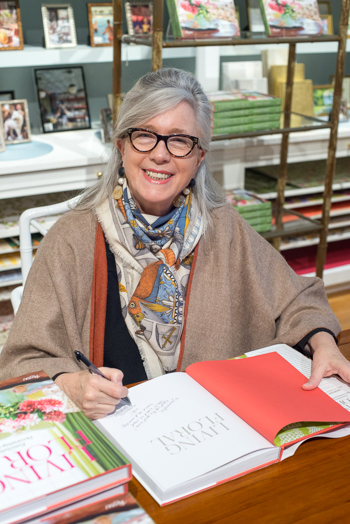 Margot Shaw signing copies of Living Floral, Margot Shaw editor of Flowers magazine
