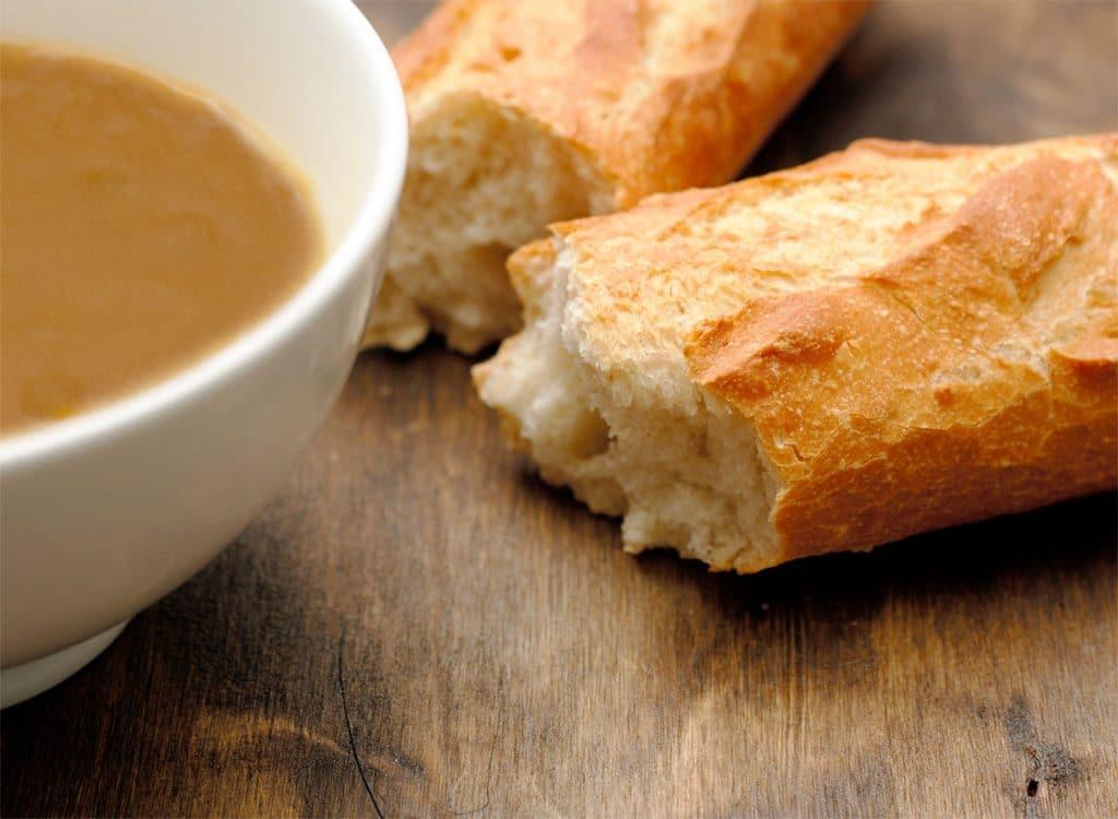 French bread near soup