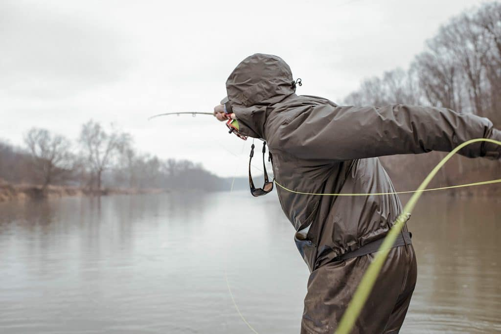 Man casting out rod