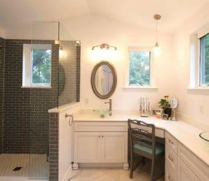 White bathroom with grey tile