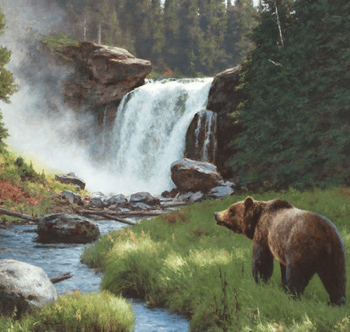 Tucker Smith painting of a bear at a waterfall