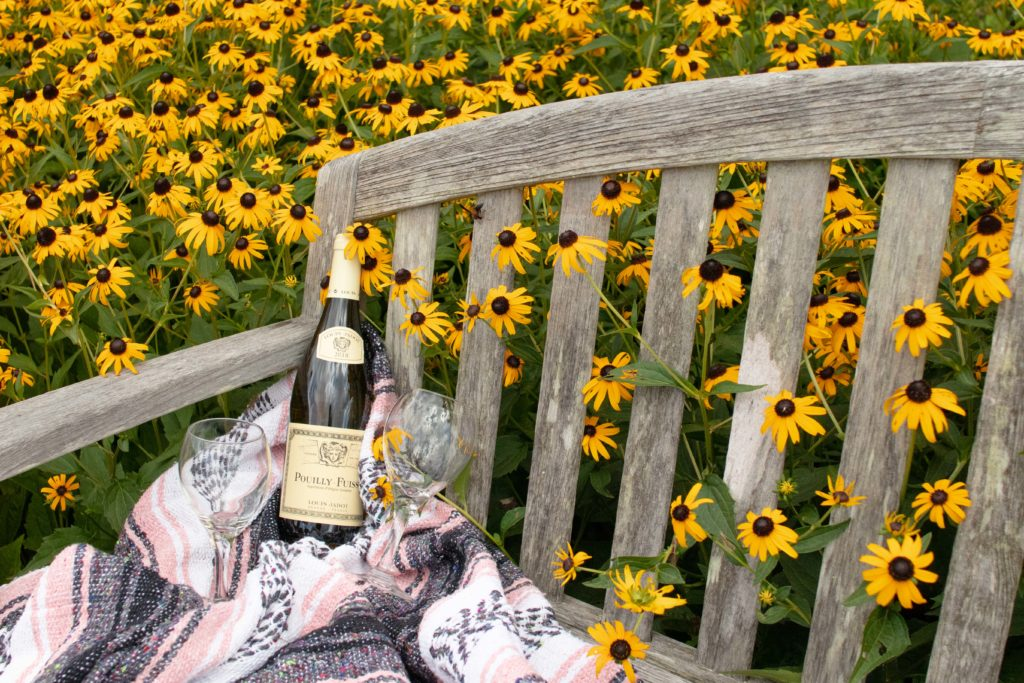 wine and flowers at Lewis Ginter Botanical Garden