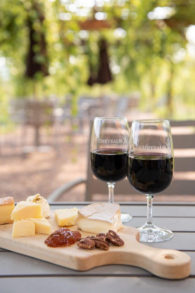 Snacks and wine at Chrysalis Vineyards in Middleburg by photographer RL Johnson