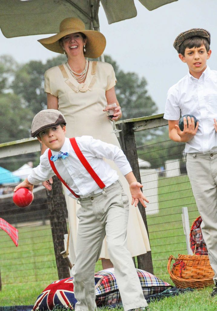 Children playing family games at Foxfield Family Day fall races