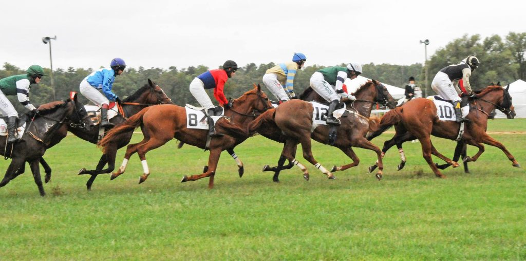 Jockeys and horses racing at Foxfield Races in Charlottesville