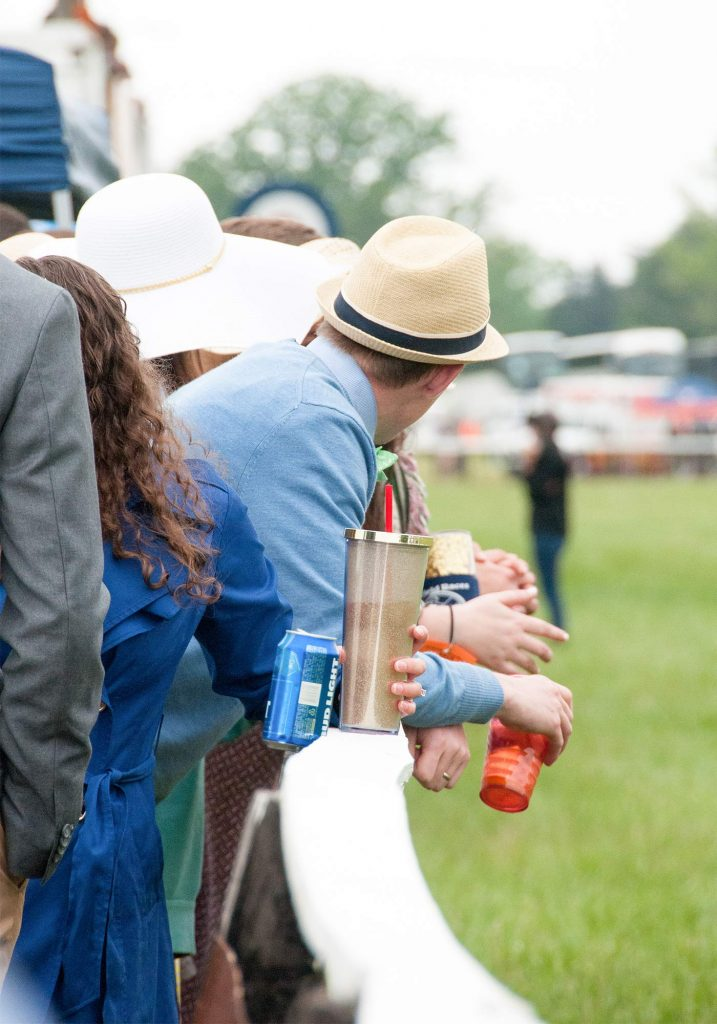 Spectators wearing hats at the Foxfield races in Charlottesville