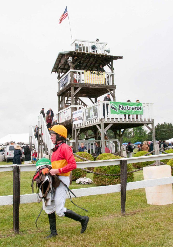 Jockey and spectators at Foxfield races in Charlottesville